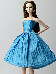 baratos -Vestidos Vestir Para Boneca Barbie Azul Poliéster/Algodão Vestido Para Menina de Boneca de Brinquedo