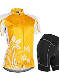 baratos -Nuckily Mulheres Manga Curta Camisa com Shorts para Ciclismo - Laranja Floral / Botânico Geométrico Moto Shorts Camisa/Roupas Para