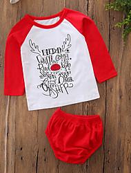 levne -Dítě Dívčí Bavlna Polyester Vánoce Denní Geometrický Jednoduchý Písmeno Jaro Léto Sady oblečení, Dlouhý rukáv Jednoduchý Na běžné nošení