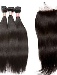cheap -Brazilian Straight Human Hair Weaves 4pcs 0.3