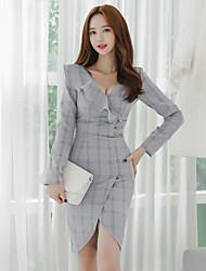 cheap -Women's Cotton Bodycon Dress - Color Block Asymmetrical V Neck