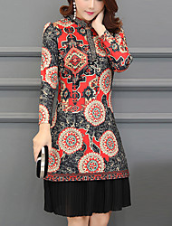 cheap -Women's Daily Work Vintage Boho A Line Sheath Dress,Geometric Patchwork Stand Above Knee Long Sleeve Rayon Polyester Spring Mid Waist