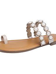 economico -Per donna Scarpe PU sintetico Estate Autunno Comoda Anello per dita del piede Pantofole e infradito Ballerina Perle di imitazione per