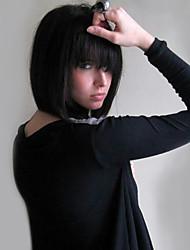 cheap -Human Hair Capless Wigs Human Hair Straight Bob Haircut Natural Hairline Medium Length Machine Made Wig Women's