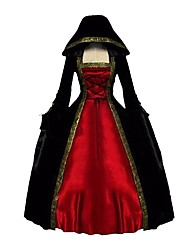 cheap -Rococo Victorian Costume Women's Adults' One Piece Dress Red+Black Vintage Cosplay Pleuche Long Sleeves Bell Ankle Length