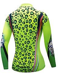 billiga Sport och friluftsliv-CYCOBYCO Dam Långärmad Cykeltröja - Grön Leopard Cykel Collegetröja Tröja Överdelar, Tränare Torkar snabbt Snabb tork, Vår Sommar, Polyester 100% Polyester / Elastisk / Reflexremsa
