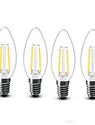 preiswerte -4pcs 2W 200 lm E14 LED Kerzen-Glühbirnen C35 2 Leds COB Dekorativ Warmes Weiß Wechselstrom 220-240V