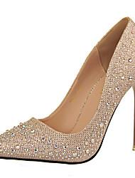preiswerte -Damen Schuhe Glanz Frühling Herbst Gladiator Pumps High Heels Stöckelabsatz Glitter für Kleid Party & Festivität Gold Schwarz Silber