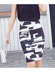 abordables -Femme Sophistiqué Moulante Jupes - Couleur Pleine, Imprimé