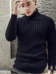 cheap -Men's Long Sleeves Long Pullover - Solid Colored Turtleneck