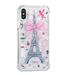 Недорогие -Кейс для Назначение Apple iPhone X iPhone 8 Plus Движущаяся жидкость С узором Задняя крышка Эйфелева башня Мягкий TPU для iPhone X iPhone