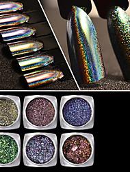 baratos -Nail Glitter Pó Paetês Clássico Camaleão Cores Gradiente Alta qualidade Diário Nail Art Design