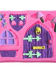 economico -fiaba cottage finestra di legno porta amore fiori muffa in silicone stampo fai da te strumenti di decorazione torta