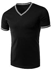 economico -T-shirt Da uomo Per eventi Vintage Primavera Estate,Monocolore A V Cotone Maniche corte Medio spessore