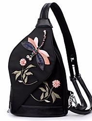 baratos -Feminino Bolsas Fibra Sintética Sling sacos de ombro Bordado para Todas as Estações Preto