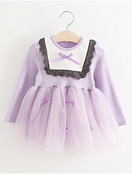cheap -Baby Girl's Birthday Solid Dress,Polyester Simple Long Sleeve Lavender