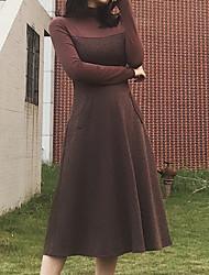 Недорогие -Жен. Оболочка Платье - Пэчворк Завышенная Хомут Средней длины