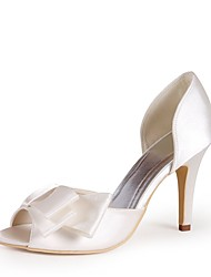 cheap -Women's Shoes Silk Spring Summer Basic Pump Wedding Shoes Stiletto Heel Peep Toe Bowknot for Wedding Party & Evening Ivory