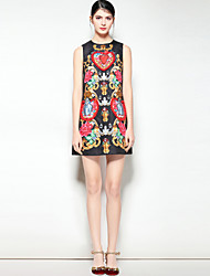baratos -Mulheres Moda de Rua Boho Evasê Vestido - Estampado, Floral Acima do Joelho