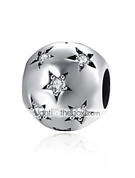 cheap -DIY Jewelry 1 pcs Beads Silver Imitation Diamond Silver Ball Star Bead 0.9 cm DIY Necklace Bracelet