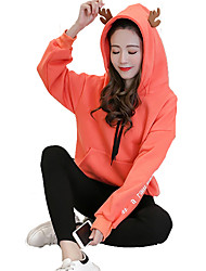 cheap -Women's To-Go Hoodie Solid Hooded Stretchy Polyester Long Sleeves Fall