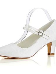 preiswerte -Damen Schuhe Stretch - Satin Frühling / Herbst Pumps Hochzeit Schuhe Blockabsatz Runde Zehe Perle Elfenbein / Party & Festivität
