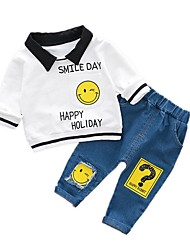 cheap -Baby Boys' Daily Simple Clothing Set,Cotton Spring Simple Active Long Sleeves White Black