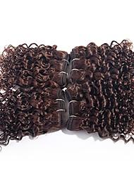Недорогие -Бразильские волосы Kinky Curly Не подвергавшиеся окрашиванию Волосы Уток с закрытием Ткет человеческих волос Расширения человеческих волос