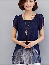 abordables -Mujer Chic de Calle Festivos Estampado Blusa Geométrico
