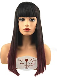 cheap -Synthetic Wig Straight With Bangs Synthetic Hair Ombre Hair Black Wig Women's Long Capless