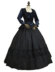 cheap -Victorian Rococo Costume Women's Adults' Outfits Bule/Black Vintage Cosplay Plush Fabric Pure Cotton Long Sleeves Puff/Balloon Ankle