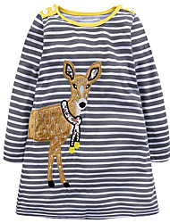 cheap -Girl's Daily Holiday Striped Dress, Cotton All Seasons Long Sleeves Cute Casual Gray