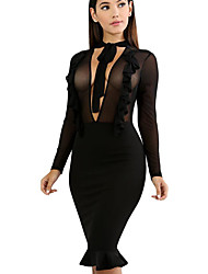 cheap -Women's Sheath Dress - Solid High Rise V Neck