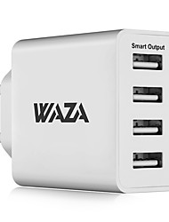 cheap -WAZA 25W Wall Charger 4-Port Output Travel Charger 2.4A Max Smart Output Each Port For iPhone, Galaxy, LG, Piexl, Moto etc.
