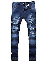 cheap -Men's Street chic Plus Size Cotton Straight Jeans Pants - Solid Colored Hole