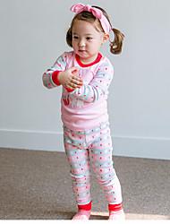 cheap -Girls' Pattern Sleepwear, Cotton Spring Fall Long Sleeves Classic & Timeless Red Blushing Pink