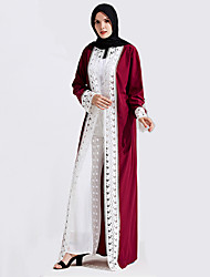 abordables -Mode Robe caftan Abaya Robe Arabe Femme Fête / Célébration Déguisement d'Halloween Rouge Bleu Dentelle