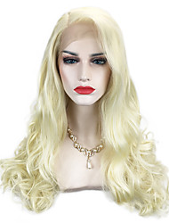 cheap -Synthetic Wig Wavy / Body Wave Blonde Synthetic Hair Side Part Blonde Wig Long Capless Light Blonde