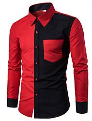 Недорогие -Муж. Офис Рубашка Хлопок, Воротник-стойка Однотонный Черный и красный / Длинный рукав