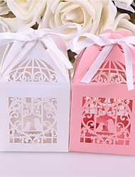 cheap -Square Shape Pearl Paper Favor Holder with Ribbons Favor Boxes - 10pcs