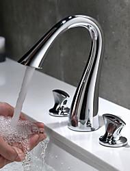 Недорогие -Традиционный Разбросанная Широко распространенный Керамический клапан Две ручки три отверстия Хром , Ванная раковина кран