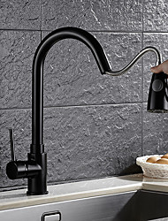 cheap -Antique Pull-out/­Pull-down Vessel Rotatable Ceramic Valve Single Handle One Hole Oil-rubbed Bronze, Kitchen faucet