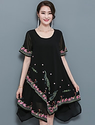 cheap -Women's Daily Work Vintage Boho A Line Loose Above Knee Asymmetrical Dress Print Round Neck Short Sleeves Spring