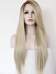 abordables -Perruques synthétiques cheveux raides ombre cheveux avec des cheveux de bébé perruques naturelles longues blonde
