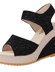 cheap -Shoes Lace Spring Summer Comfort Sandals Wedge Heel for Casual Black Beige
