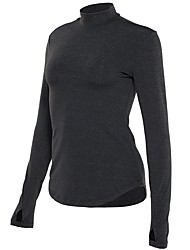 cheap -Women's Running Shirt - Black, Peach, Grey Sports Tee / T-shirt Yoga, Fitness, Gym Long Sleeve Activewear Quick Dry Inelastic