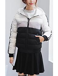 economico -Piumino Da donna,Cappotto Semplice Casual A strisce Altro Cotone Manica lunga Con cappuccio Rosa / Nero / Verde