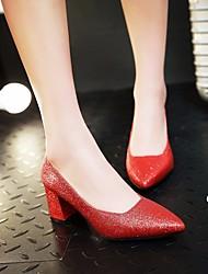 preiswerte -Damen Schuhe Paillette Frühling Herbst Pumps High Heels Blockabsatz Paillette für Normal Gold Schwarz Silber Rot