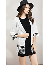 cheap -Women's Going out Cute Street chic Flare Sleeve Cardigan - Solid Colored Geometric, Tassel V Neck