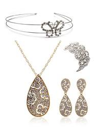 abordables -Femme Ensemble de bijoux - Imitation Diamant Papillon Européen, Mode Comprendre Tiare Nuptiales Parures Or Pour Mariage Soirée